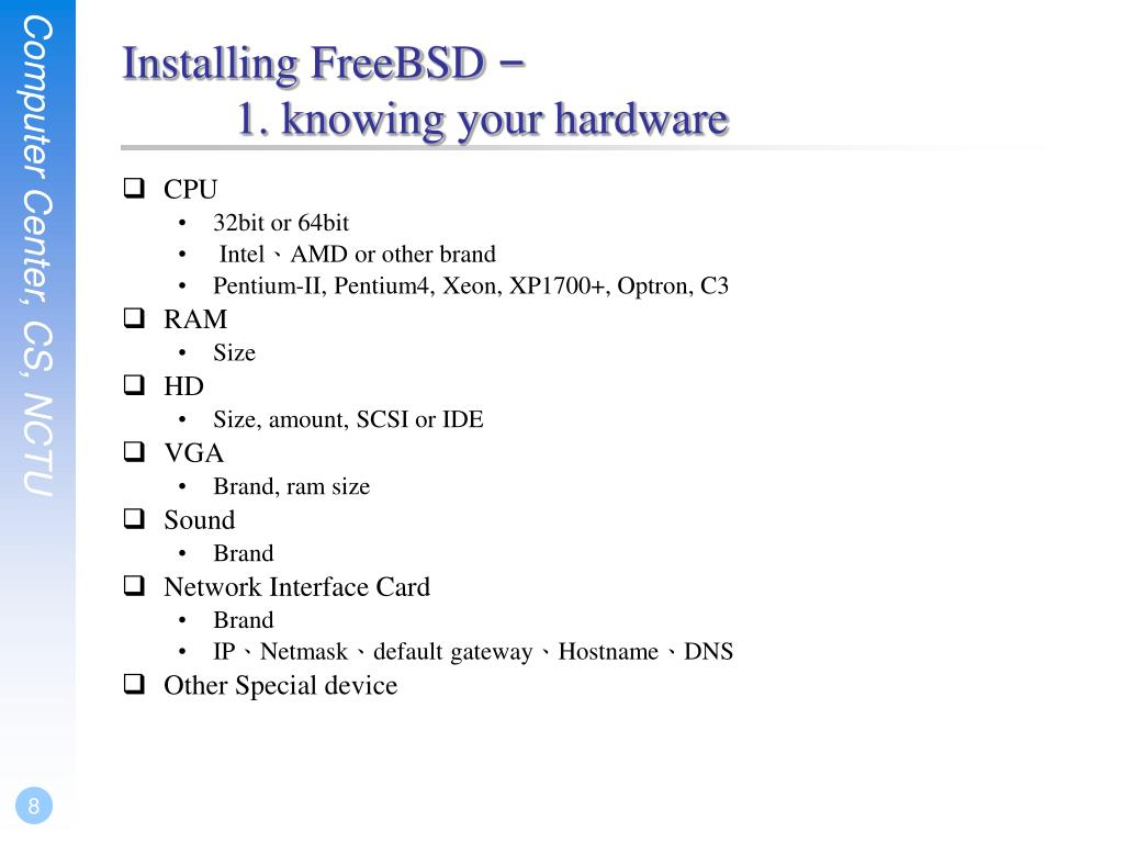 PPT - Exercise 1 – FreeBSD Installation PowerPoint