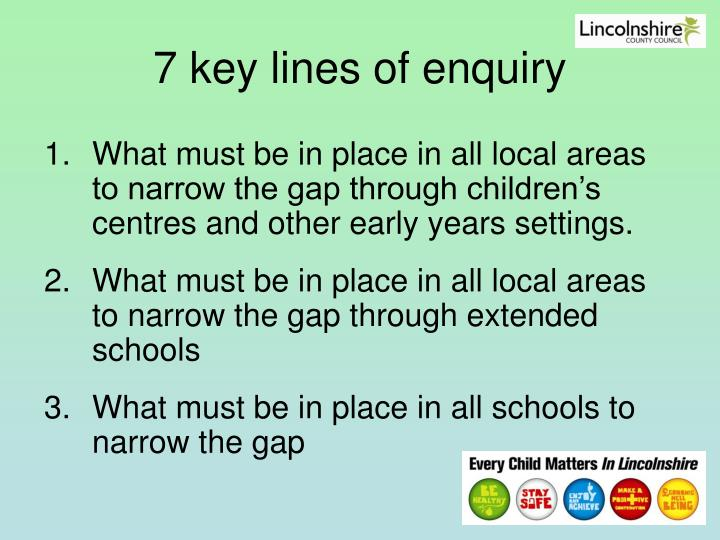 7 key lines of enquiry