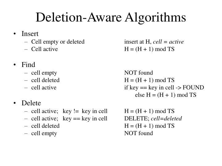 Deletion-Aware Algorithms