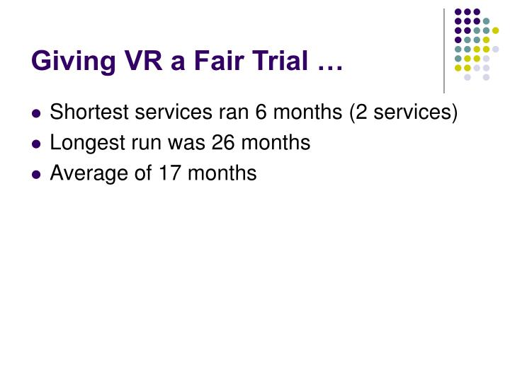 Giving VR a Fair Trial …