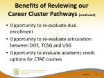 benefits of reviewing our career cluster pathways continued