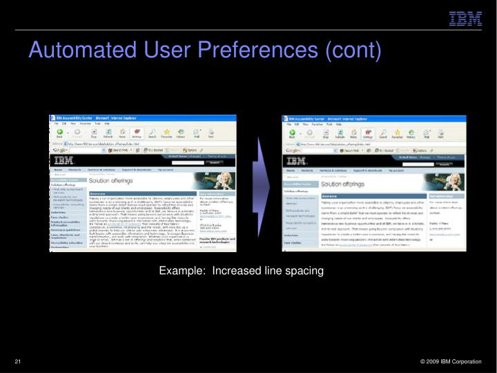 Automated User Preferences (cont)