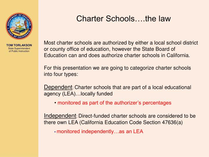 Charter Schools….the law