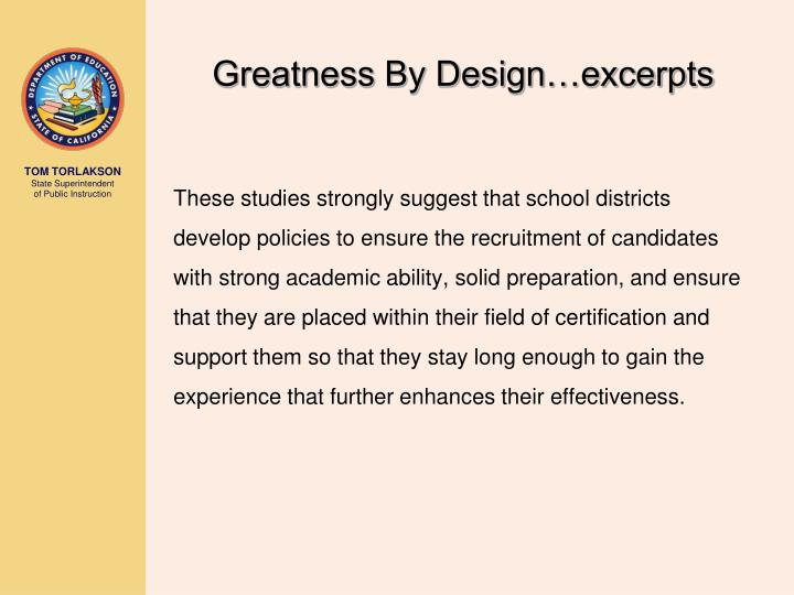 Greatness By Design…excerpts