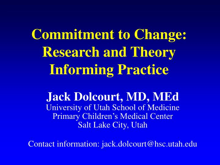 commitment to change research and theory informing practice n.
