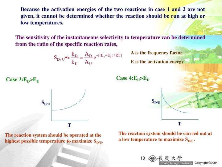 Because the activation energies of the two reactions in case 1 and 2 are not given, it cannot be determined whether the reaction should be run at high or