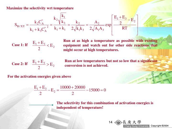 Maximize the selectivity wrt temperature