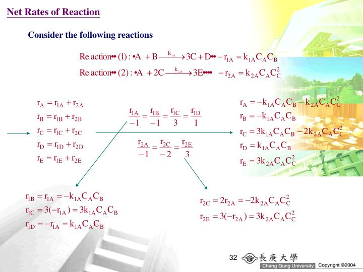 Net Rates of Reaction