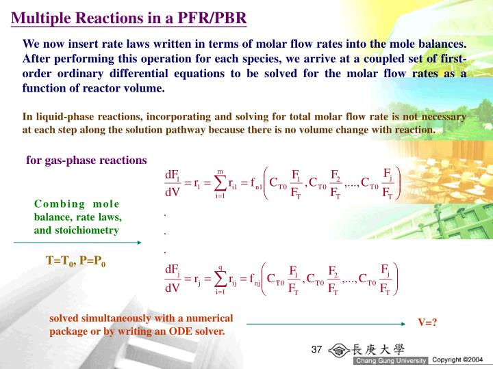 Multiple Reactions in a PFR/PBR