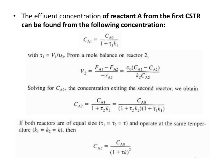 The effluent concentration