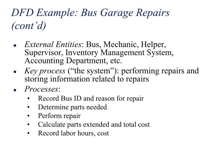 DFD Example: Bus Garage Repairs (cont'd)