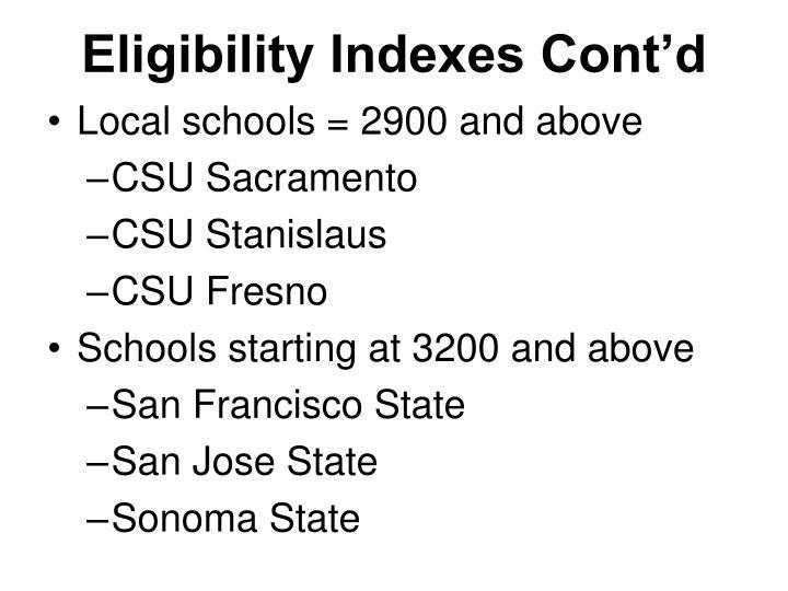 Eligibility Indexes Cont'd