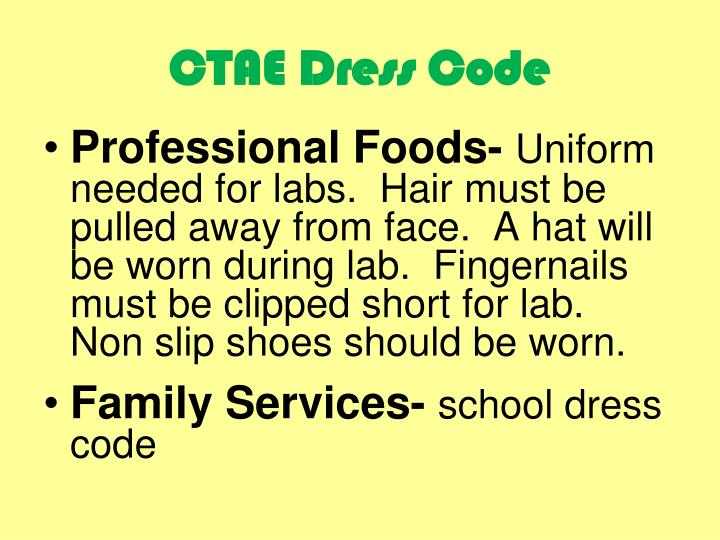 CTAE Dress Code