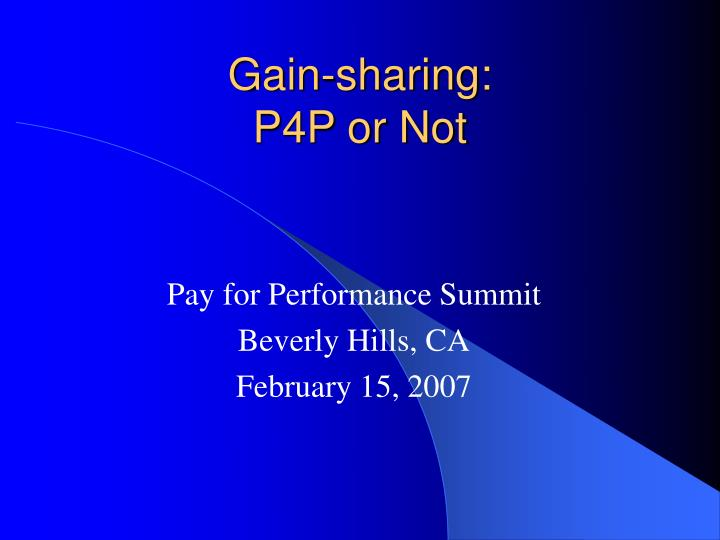 gain sharing p4p or not n.