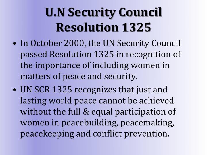 U.N Security Council Resolution 1325