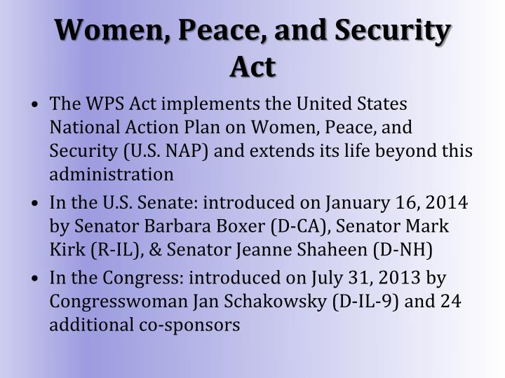 Women, Peace, and Security Act