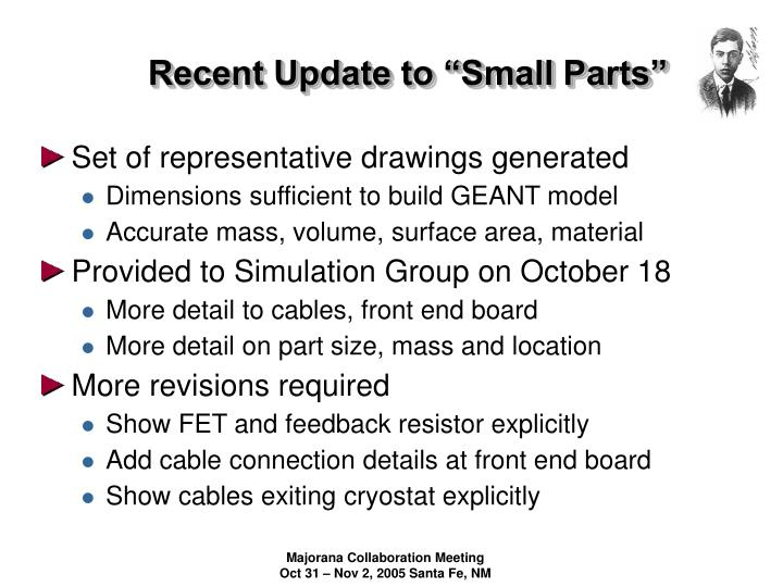 Recent update to small parts
