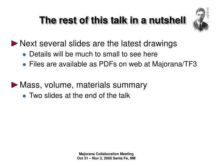 The rest of this talk in a nutshell