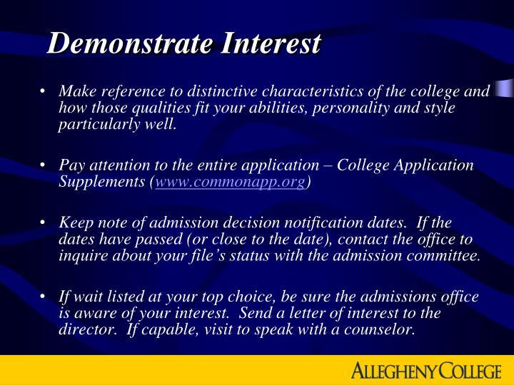 Demonstrate Interest