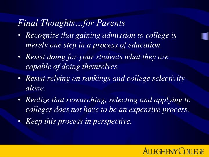 Final Thoughts…for Parents