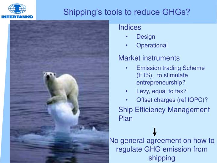 Shipping's tools to reduce GHGs?
