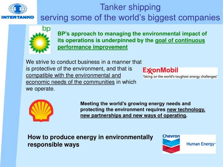 Tanker shipping serving some of the world s biggest companies