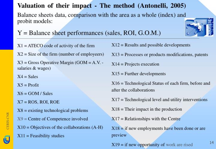 Y = Balance sheet performances (sales, ROI, G.O.M.)