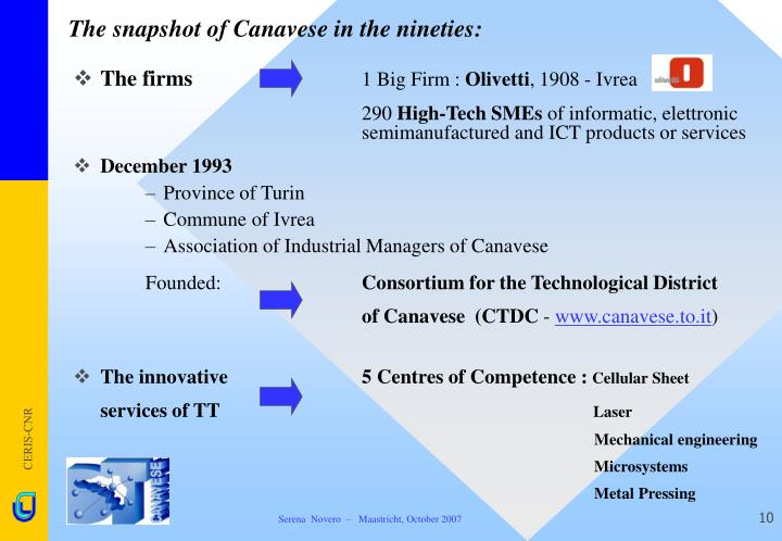 The snapshot of Canavese in the nineties: