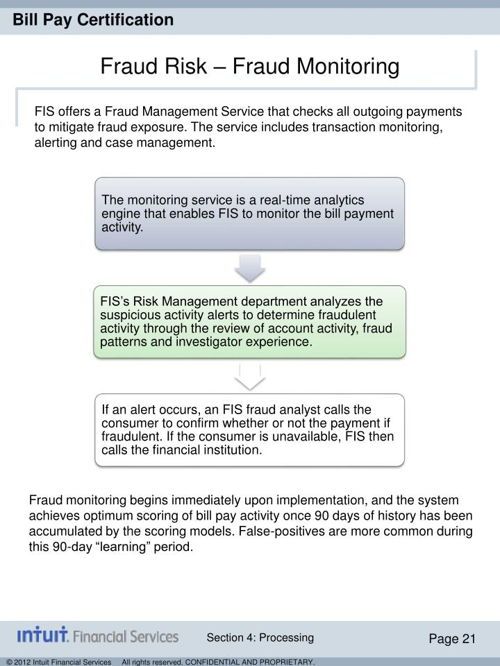 FIS offers a Fraud Management Service that checks all outgoing payments to mitigate fraud exposure. The service includes transaction monitoring, alerting and case management.