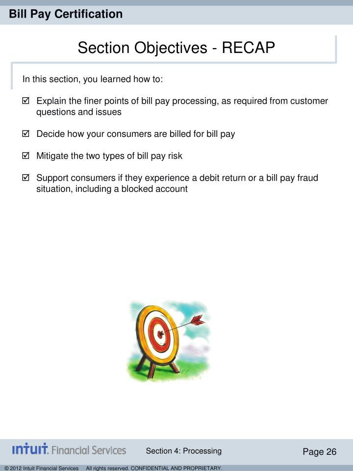 Section Objectives - RECAP