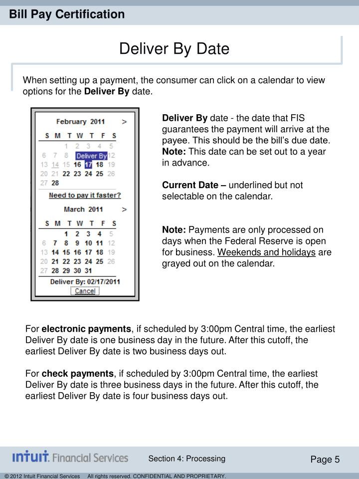 When setting up a payment, the consumer can click on a calendar to view options for the