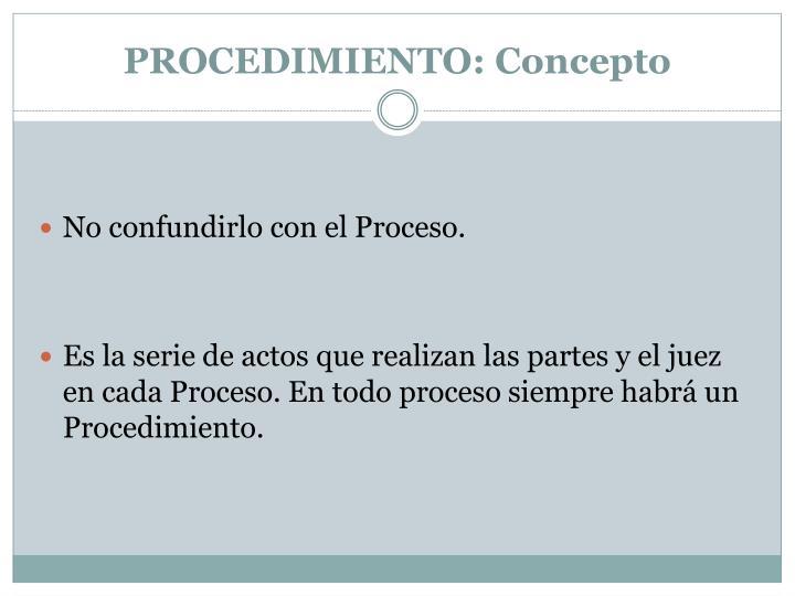 Procedimiento concepto