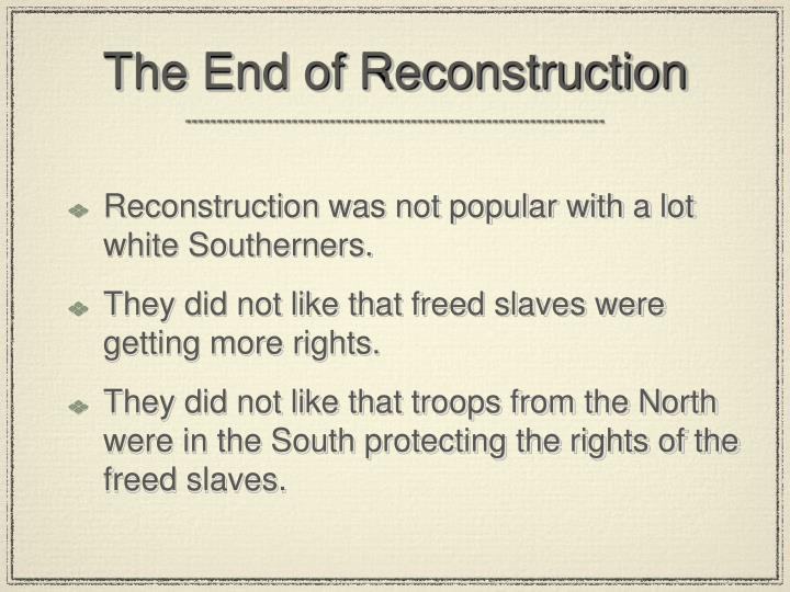 what should be the reconstruction policies for the south Was a process for political reconstruction (=reconstructing the state governments in the south so that unionists what was significant about johnson's reconstruction policy and why was the final round of reconstruction= southern conservatives, known as redeemers, took control of many.