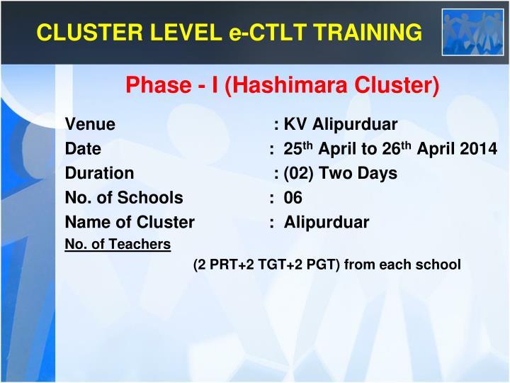 CLUSTER LEVEL e-CTLT TRAINING