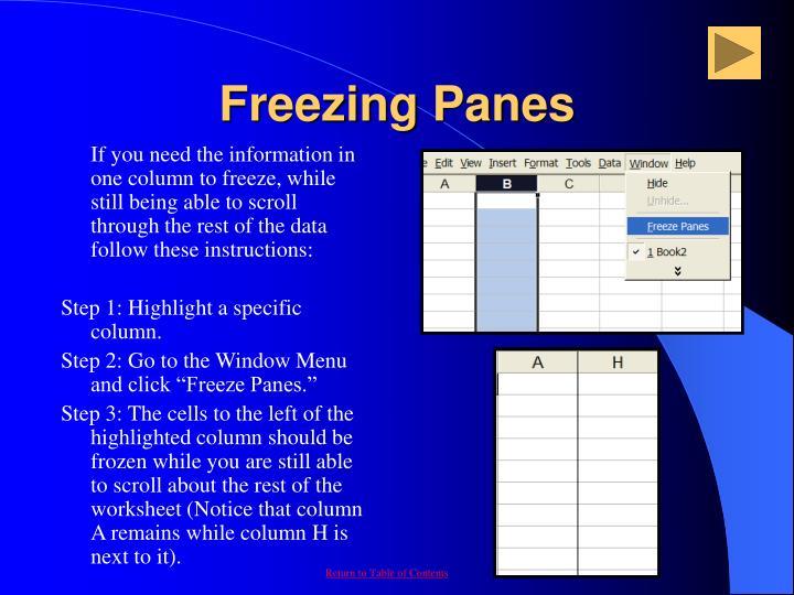Freezing Panes