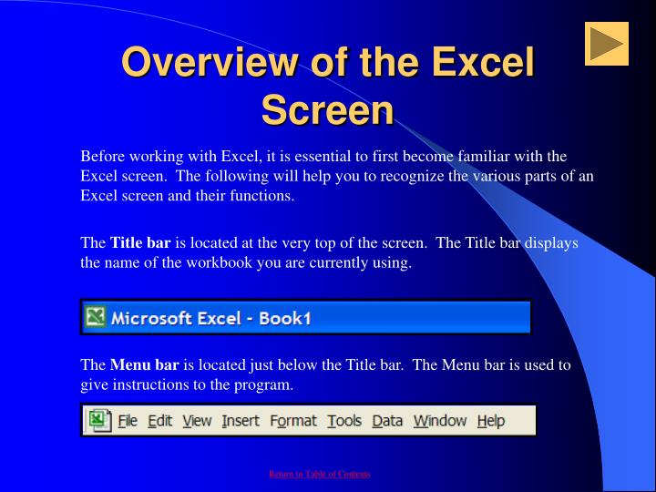 Overview of the Excel Screen