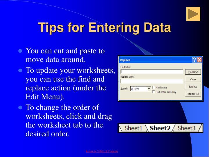 Tips for Entering Data