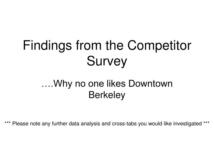 Findings from the competitor survey