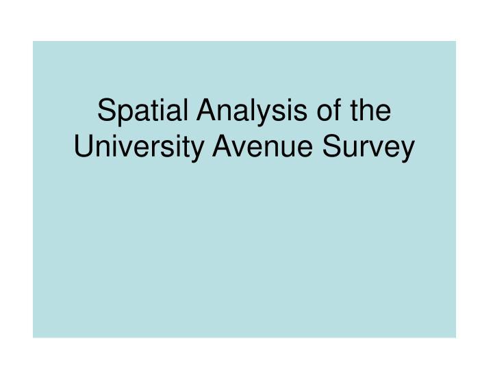 Spatial Analysis of the University Avenue Survey