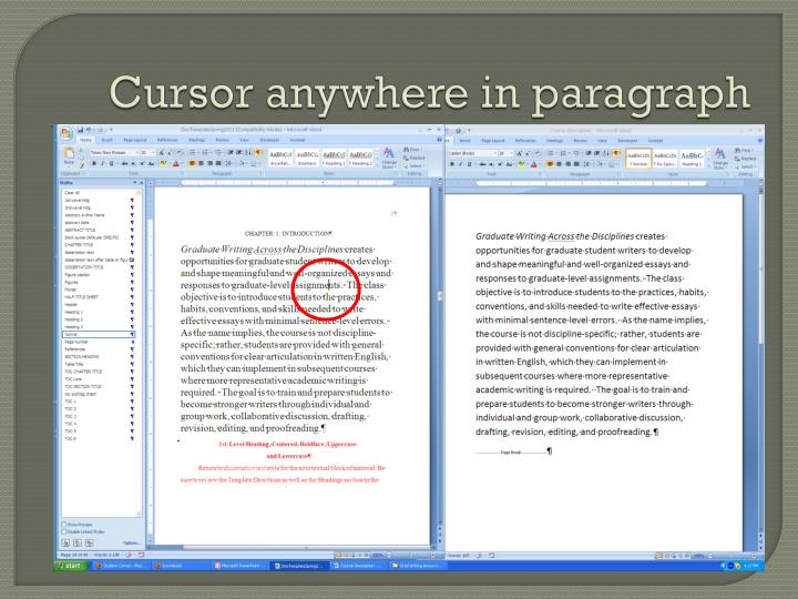Cursor anywhere in paragraph
