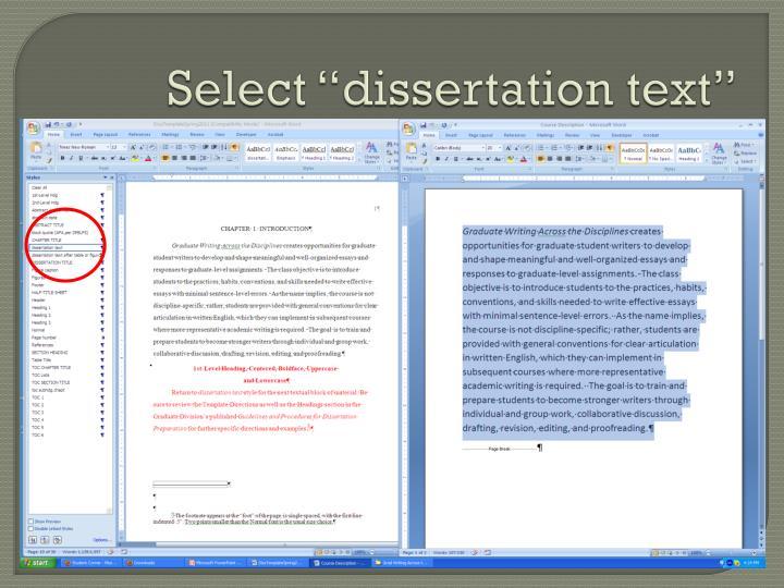 "Select ""dissertation text"""
