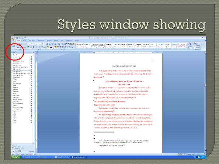 Styles window showing
