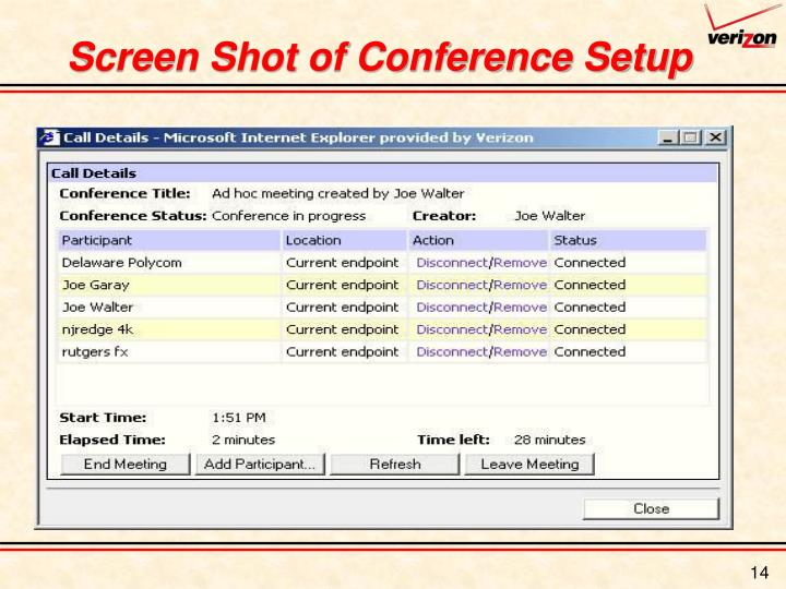 Screen Shot of Conference Setup