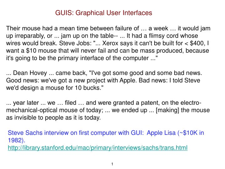 PPT - GUIS: Graphical User Interfaces PowerPoint