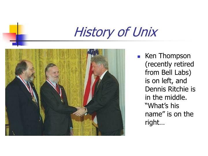 """Ken Thompson (recently retired from Bell Labs) is on left, and Dennis Ritchie is in the middle. """"What's his name"""" is on the right…"""