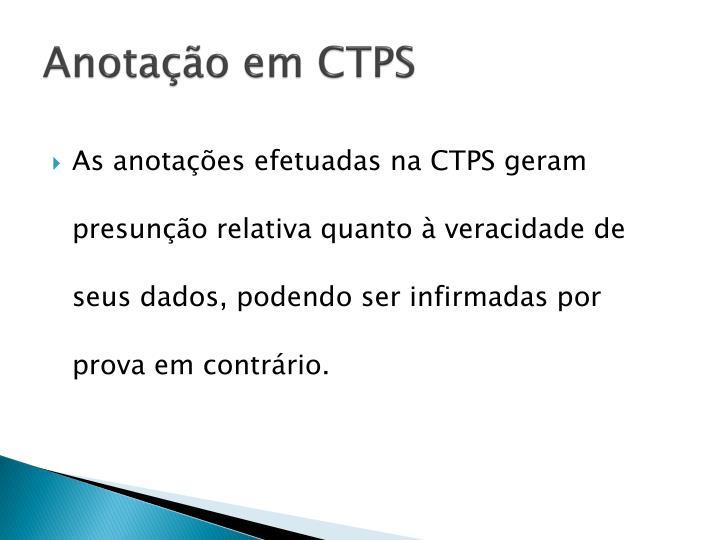 Anotação em CTPS