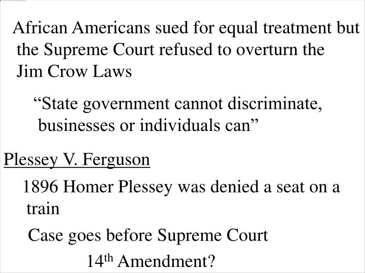 African Americans sued for equal treatment but