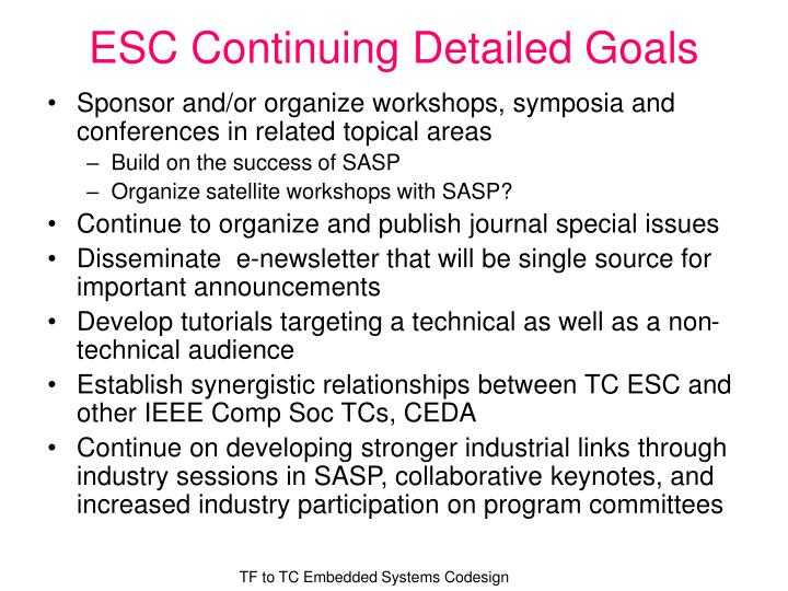 ESC Continuing Detailed Goals