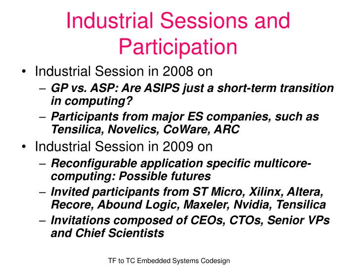Industrial Sessions and Participation