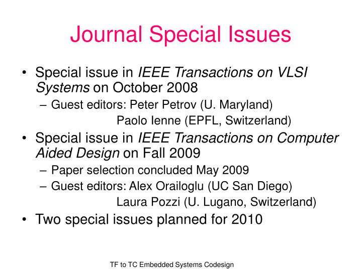 Journal Special Issues